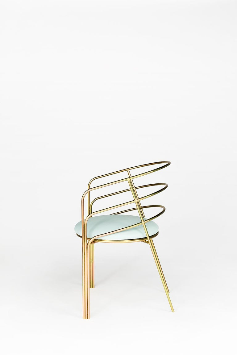 Modern DeMille, Indoor/Outdoor Copper-Plated Stainless Steel Dining Chair by Laun For Sale