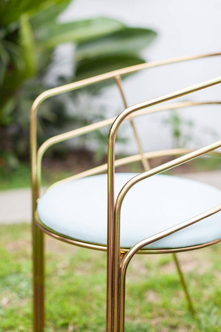 DeMille, Indoor/Outdoor Copper-Plated Stainless Steel Dining Chair by Laun In New Condition For Sale In San Marino, CA
