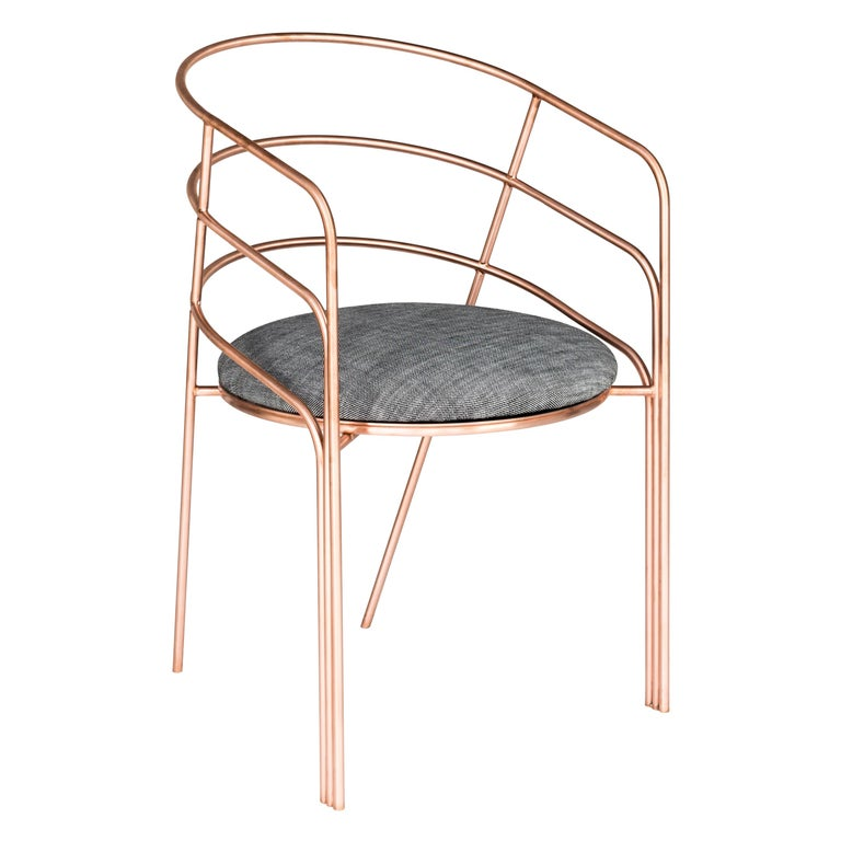 DeMille, Indoor/Outdoor Copper-Plated Stainless Steel Dining Chair by Laun For Sale