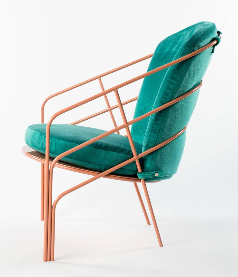 Modern Demille Indoor Outdoor Lounge Chair in Pink Powder-Coated Steel W/ Teal Cushion  For Sale