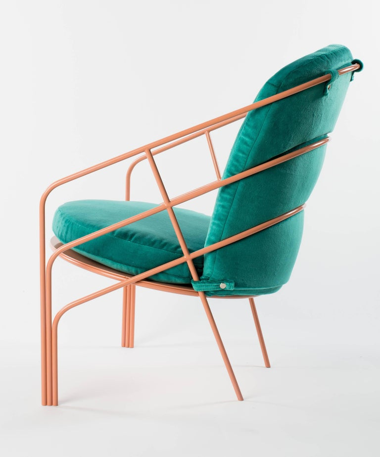 American Demille Indoor Outdoor Lounge Chair in Pink Powder-Coated Steel W/ Teal Cushion  For Sale