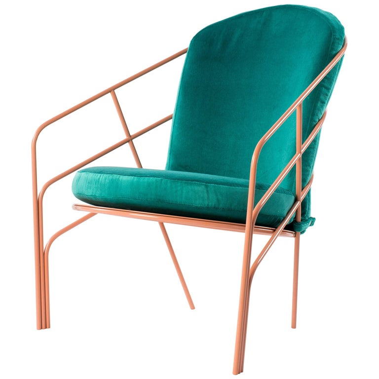Demille Indoor Outdoor Lounge Chair in Pink Powder-Coated Steel W/ Teal Cushion  For Sale
