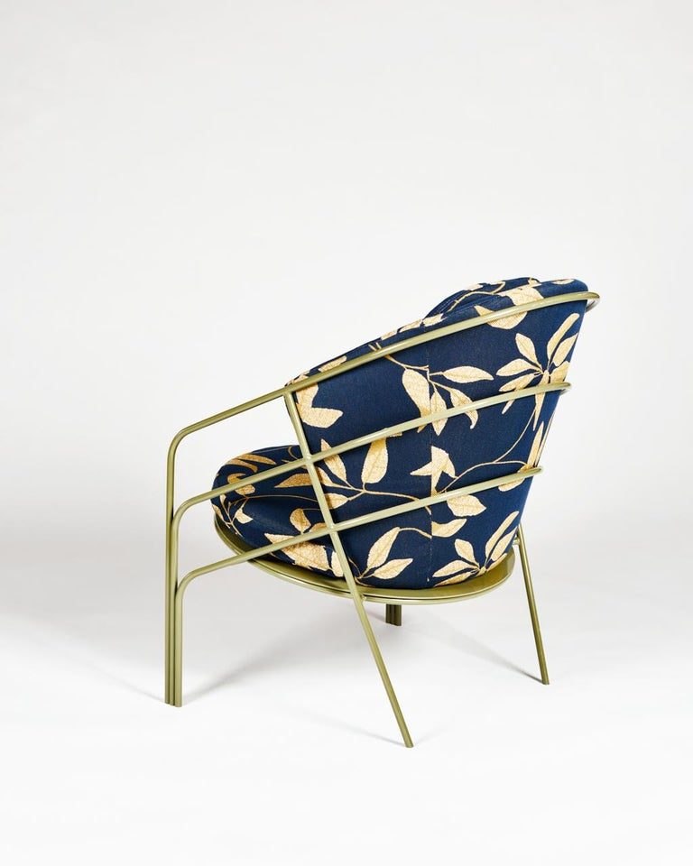 DeMille, Indoor/Outdoor Powder-Coated Stainless Steel Lounge Chair by Laun In New Condition For Sale In San Marino, CA