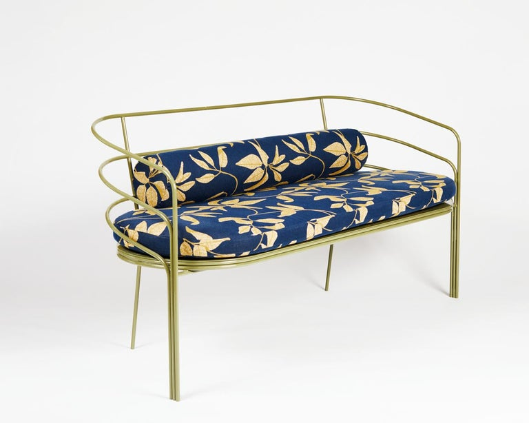 DeMille is ready for her close up! Inspired by the streamline moderne architecture found on the east side of Los Angeles, the DeMille sofa hearkens back to LA's Hollywood Regency era. This piece is suitable for indoor or outdoor use. The frame is