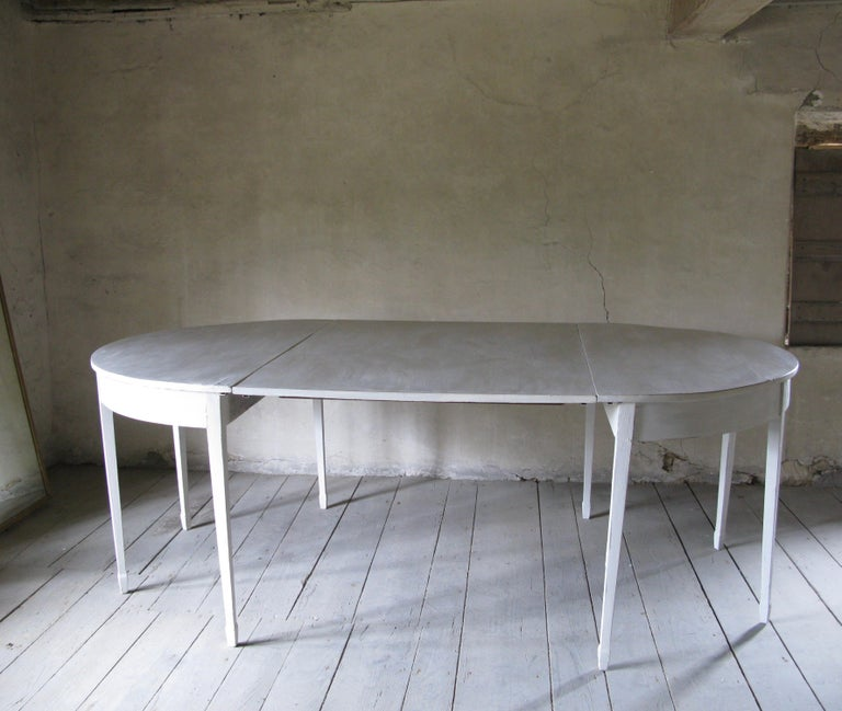Cold-Painted Demilune 19th Century Dining Table, English For Sale
