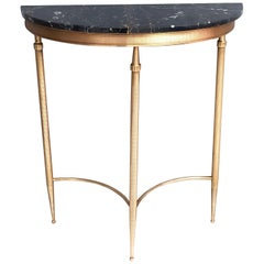 Demilune Brass Console Table with Black Portoro Marble Top, Italy, 1950s