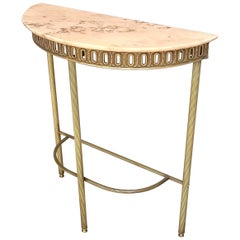 Demilune Brass Console Table with Portuguese Pink Marble Top, Italy, 1950s