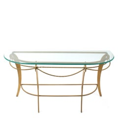 Demilune Gold Finished Iron Console Table