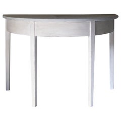 Demilune Table, Gustavian Style, Side Table, Bed Table, Pair of Demilune