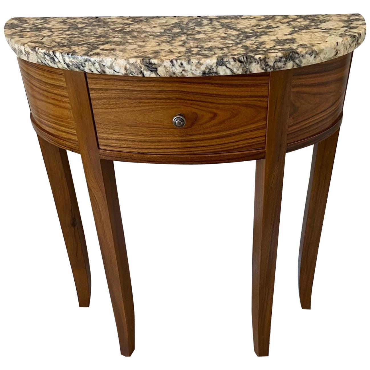 Demilune Table in Exotic Wood and Granite
