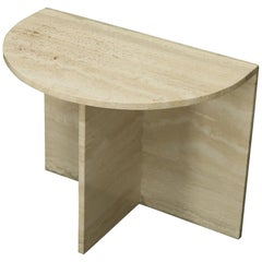 Demilune Travertine Half Round Console Table
