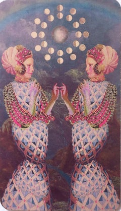 Gemini, 2018, collage, print, figurative, gold, tarot, horoscope, metallic edge