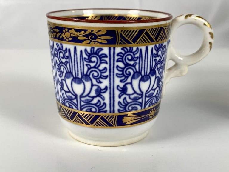 Demitasse Blue and White Porcelain Cups and Saucers in the Royal Lily Pattern For Sale 4