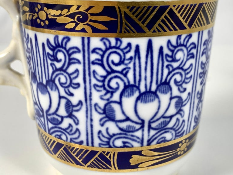 Demitasse Blue and White Porcelain Cups and Saucers in the Royal Lily Pattern For Sale 5