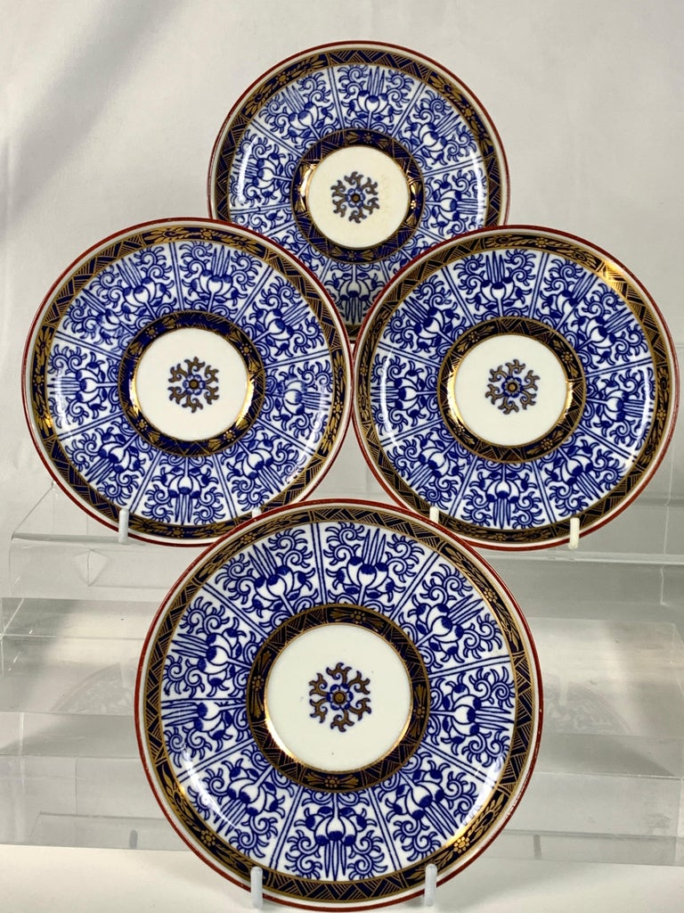 This set of four blue and white porcelain demitasse cups and saucers is beautifully painted in underglaze blue in the exquisite Worcester