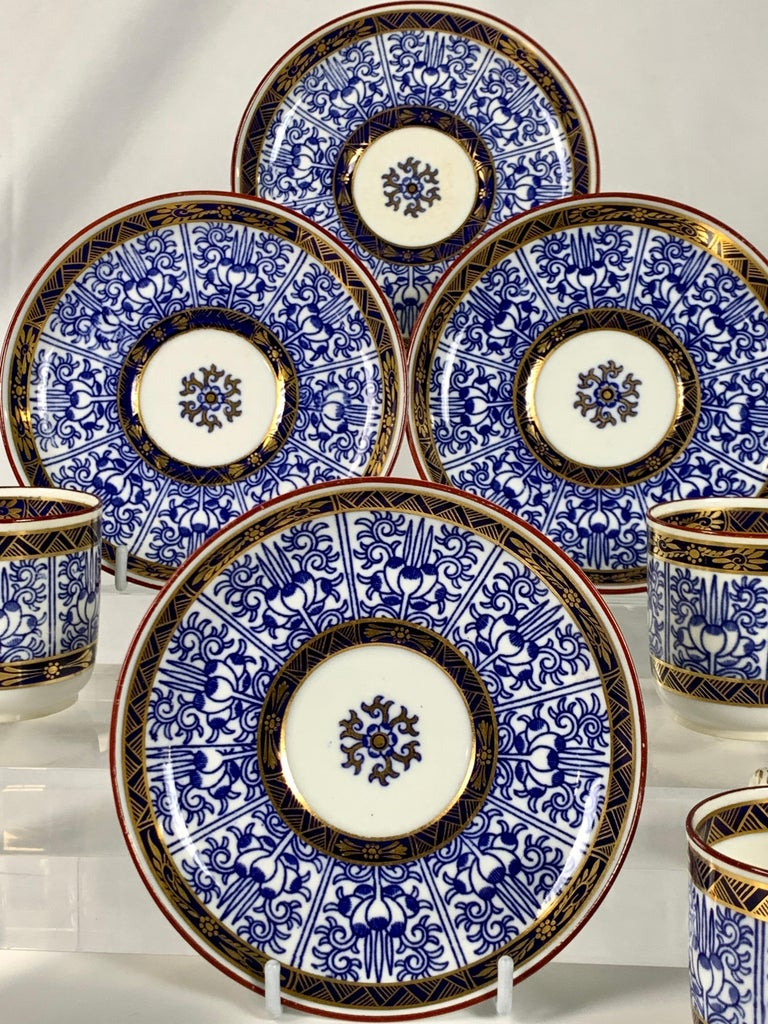 Regency Demitasse Blue and White Porcelain Cups and Saucers in the Royal Lily Pattern For Sale