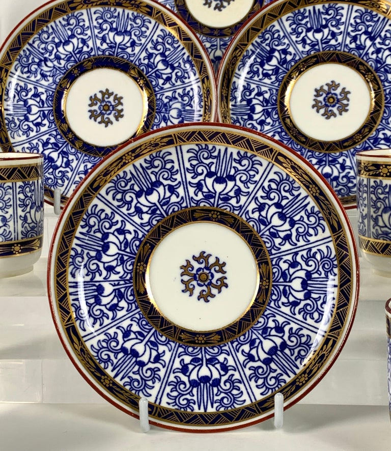English Demitasse Blue and White Porcelain Cups and Saucers in the Royal Lily Pattern For Sale