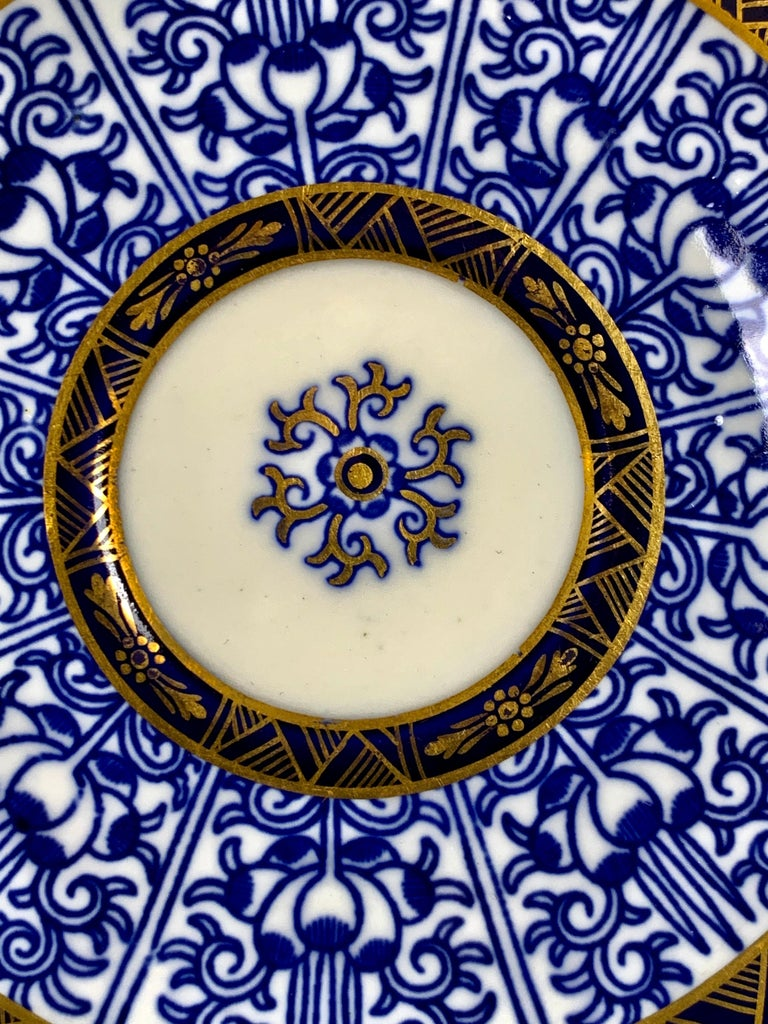 Demitasse Blue and White Porcelain Cups and Saucers in the Royal Lily Pattern In Excellent Condition For Sale In Katonah, NY