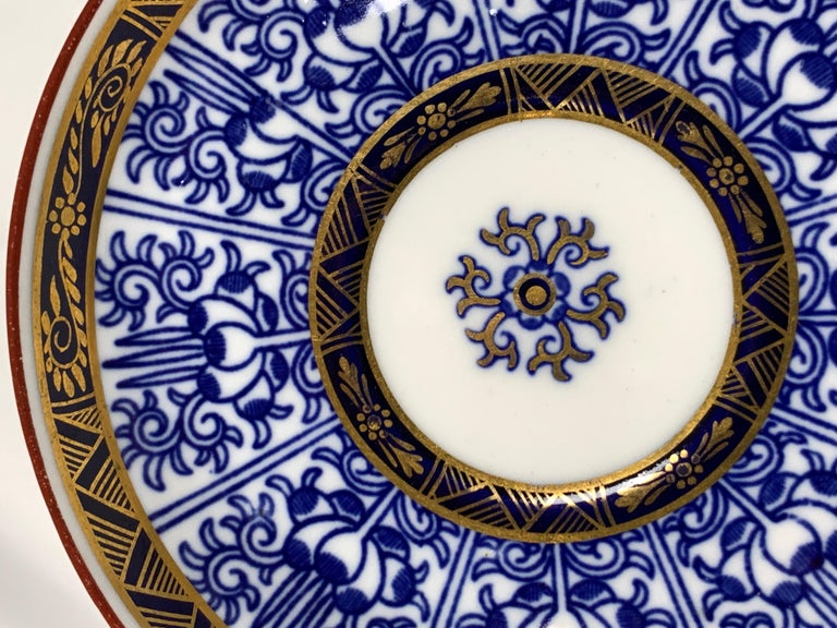 19th Century Demitasse Blue and White Porcelain Cups and Saucers in the Royal Lily Pattern For Sale