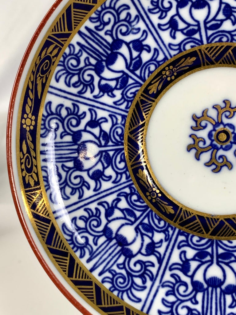 Demitasse Blue and White Porcelain Cups and Saucers in the Royal Lily Pattern For Sale 2