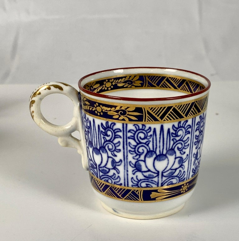 Demitasse Blue and White Porcelain Cups and Saucers in the Royal Lily Pattern For Sale 3