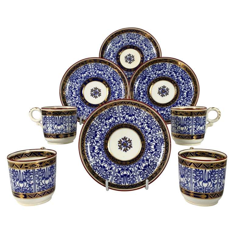 Demitasse Blue and White Porcelain Cups and Saucers in the Royal Lily Pattern For Sale