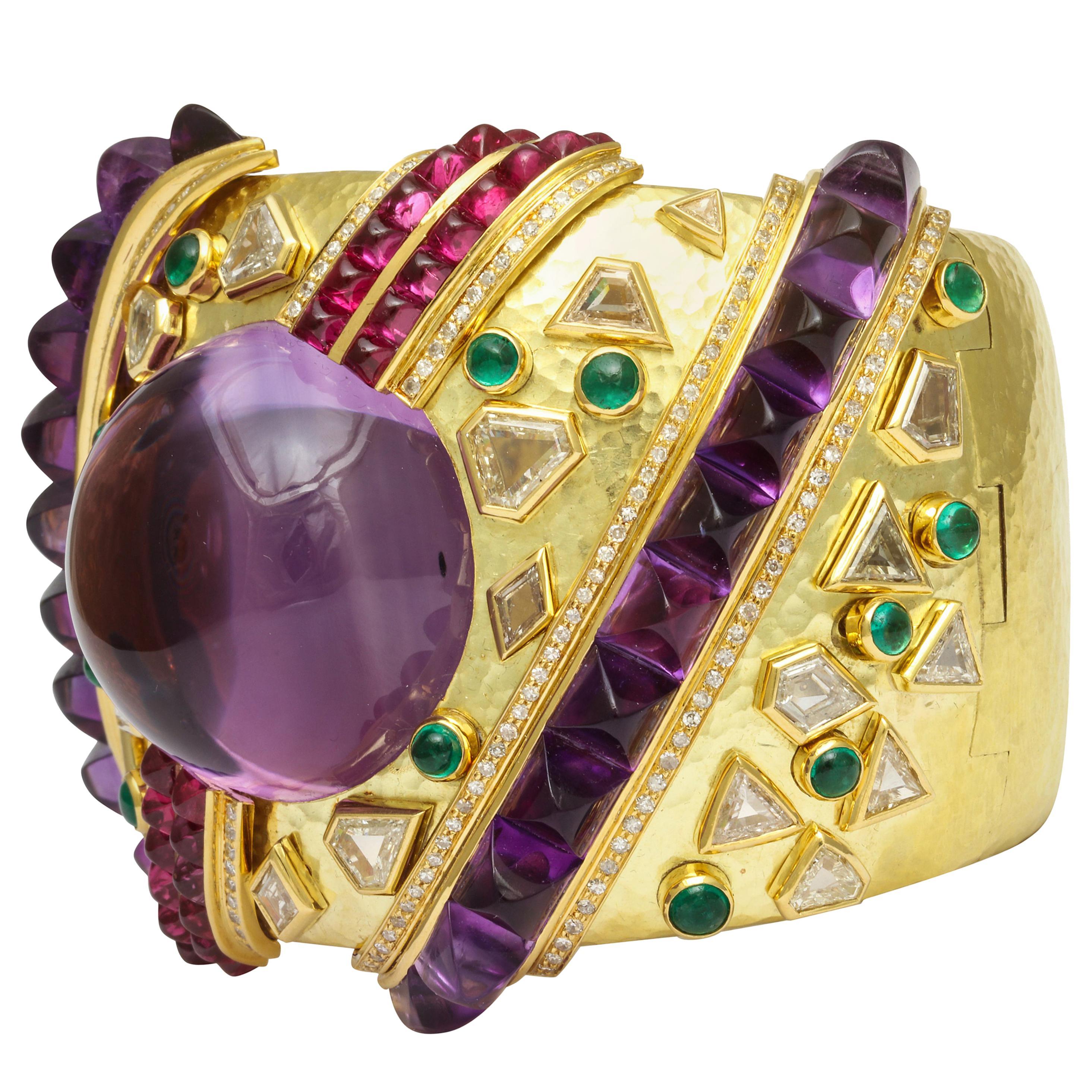 Demner Convertible Emerald to Amethyst Diamond Gemstone Gold Bracelet