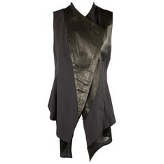 DEMOO PARKCHOONMO Size M Black Leather Panel Asymmetrical Zip Vest