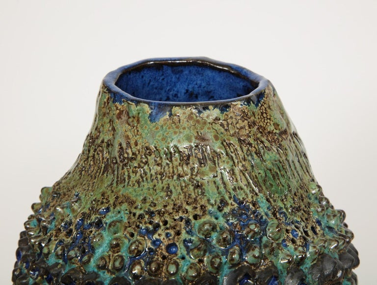 Stoneware Dena Zemsky Studio-Made, Bulbous Form Vase For Sale