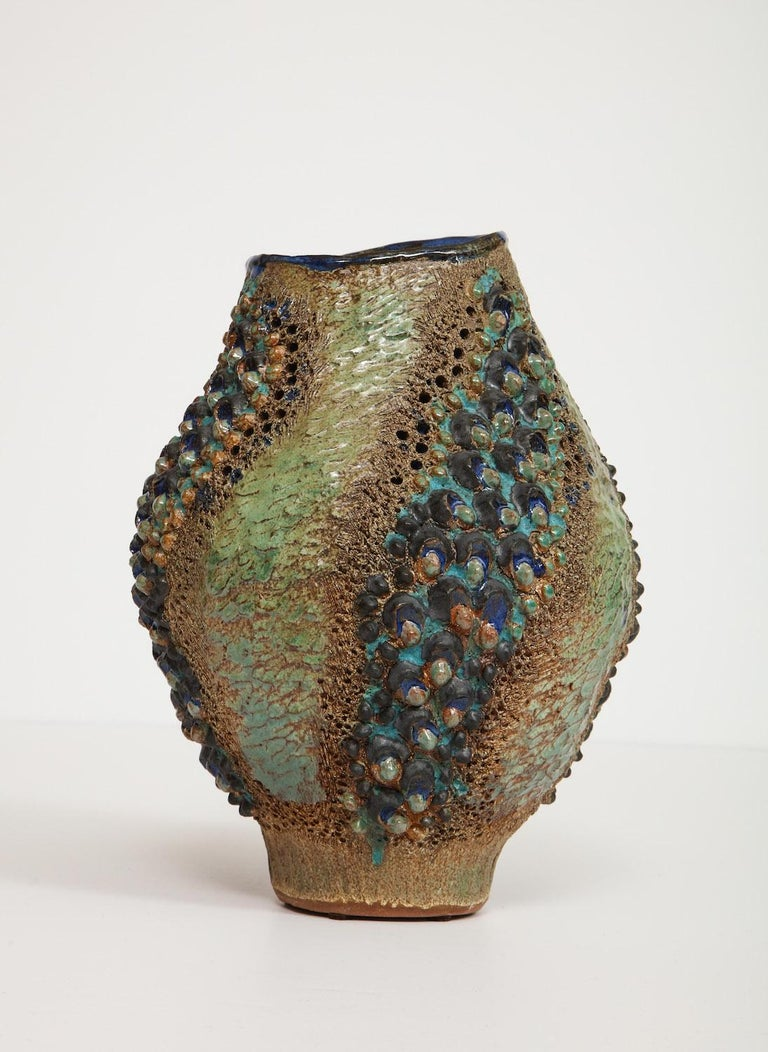 Modern Dena Zemsky Studio-Made Ceramic Vase For Sale
