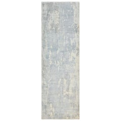 Denali, Contemporary Abstract Loom Knotted Runner Rug, Cream