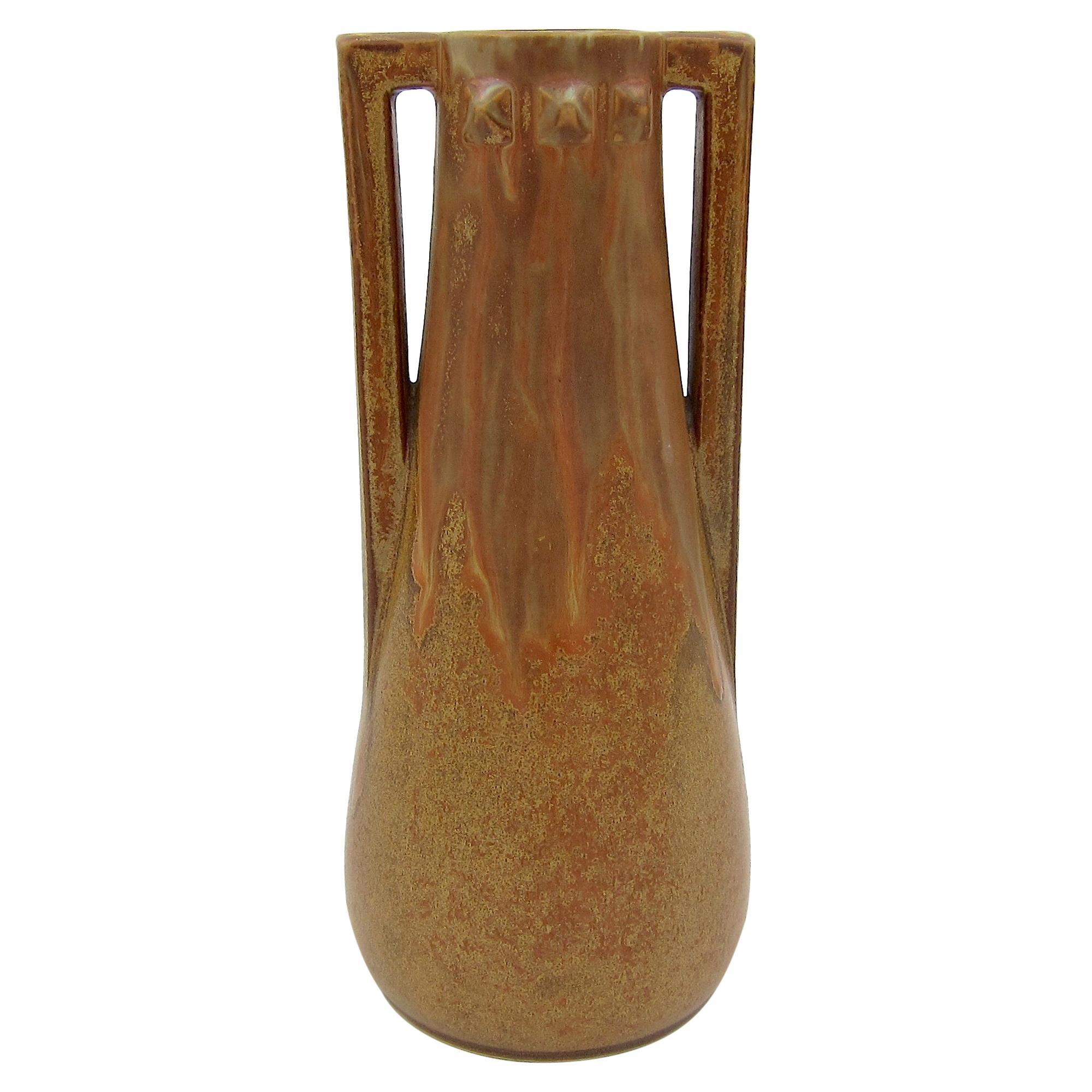 Denbac French Art Nouveau Vase with Crystalline Glaze