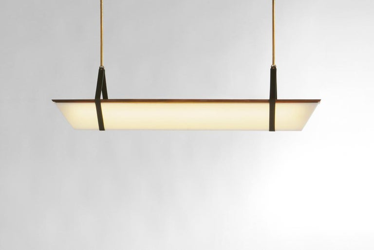 Modern Large American Black Walnut Pendant Light with Brass Fixtures and Leather Straps For Sale