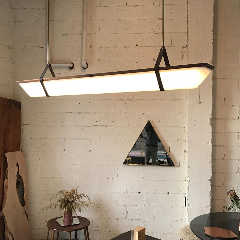 Oiled Large American Black Walnut Pendant Light with Brass Fixtures and Leather Straps For Sale