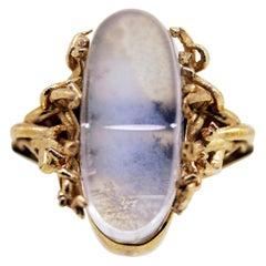 MAIKO NAGAYAMA Dendric Agate and Hand Carved Rock Crystal Contemporary Ring