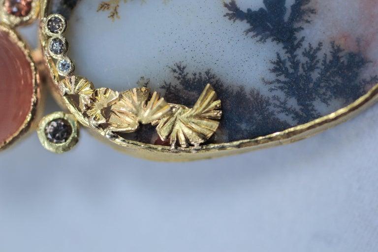 Dendrite Agate Moonstone Diamond 22K-21 Karat 18K Gold Pendant Choker Necklace For Sale 5