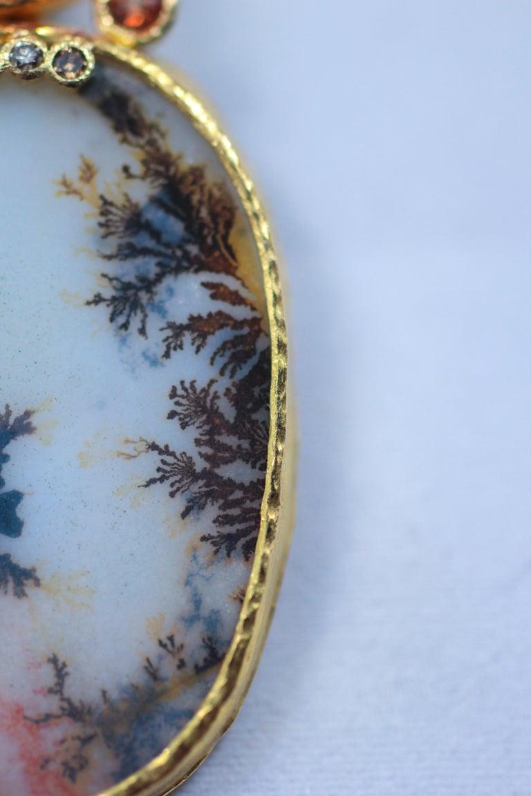 Oval Cut Dendrite Agate Moonstone Diamond 22K-21 Karat 18K Gold Pendant Choker Necklace For Sale