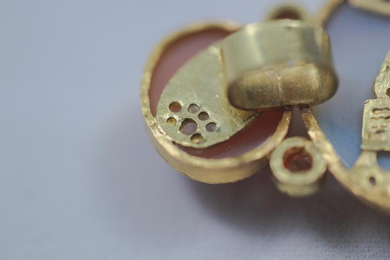 Women's Dendrite Agate Moonstone Diamond 22K-21 Karat 18K Gold Pendant Choker Necklace For Sale