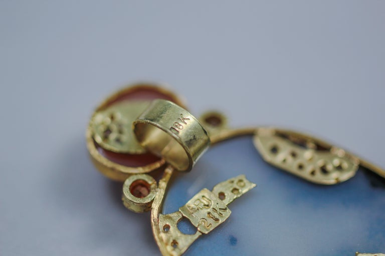 Dendrite Agate Moonstone Diamond 22K-21 Karat 18K Gold Pendant Choker Necklace For Sale 1