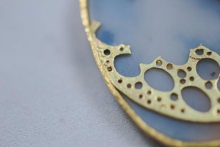 Dendrite Agate Moonstone Diamond 22K-21 Karat 18K Gold Pendant Choker Necklace For Sale 3