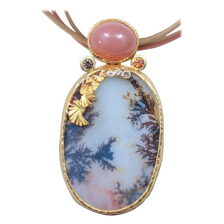 Dendrite Agate Moonstone Diamond 22K-21 Karat 18K Gold Pendant Choker Necklace For Sale