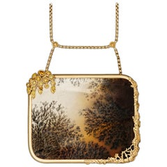 Dendritic Agate, Fancy Colored Canary Diamond and 18 Karat Gold Pendant Necklace