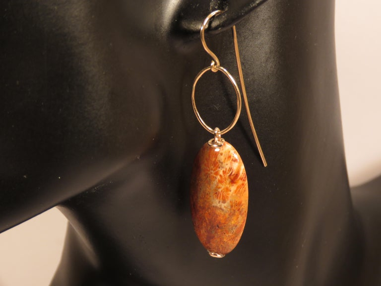 Dendritic Agate Rose Gold Earrings Handcrafted in Italy by Botta Gioielli In New Condition For Sale In Milano, IT