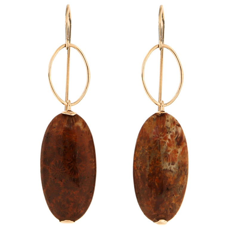 Dendritic Agate Rose Gold Earrings Handcrafted in Italy by Botta Gioielli For Sale
