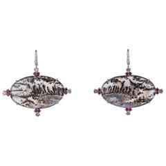 Dendritic Agate, Ruby, Diamond and 18 Karat White Gold Earrings