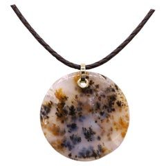 Dendritic Moss Agate Necklace Round Natural Stone 14 Karat Yellow Gold & Leather