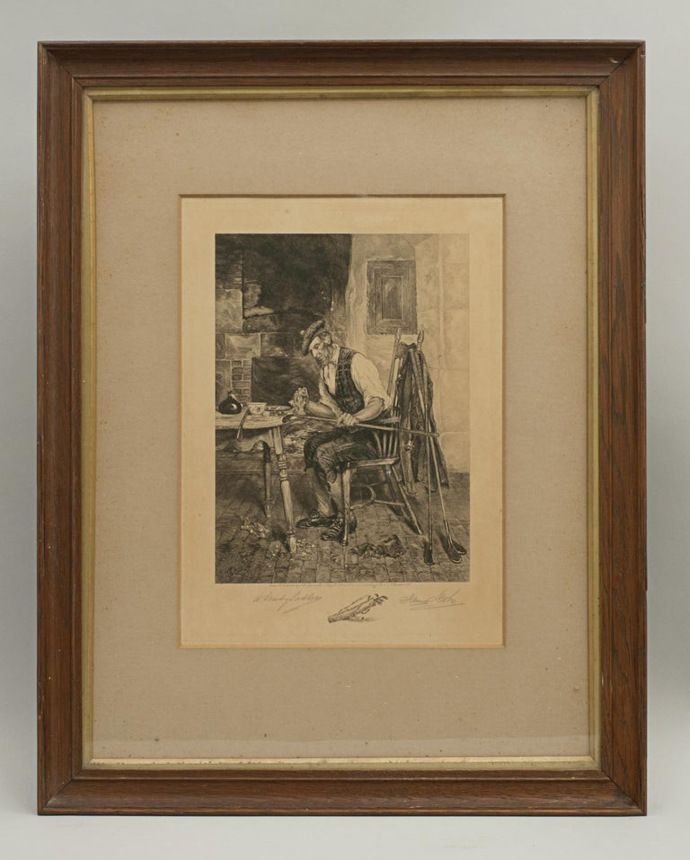 Golf print 'The Royal and Ancient' after Dendy Sadler. A good oak framed artist proof golf etching by James Dobie after the painting by Dendy Sadler. The picture depicts a Scottish gentleman at his kitchen table cleaning some golf clubs, amongst