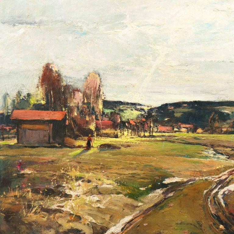 'Spring Landscape', Munich, Berlin, Hungarian Fine Arts Museum, Impressionist - Brown Landscape Painting by Denes Csanki