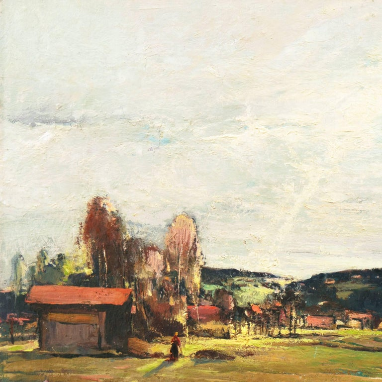 Signed lower right, 'Csanki' for Denes Csanki (Hungarian, 1885-1972) and painted circa 1935.  A substantial and atmospheric landscape showing a panoramic view of the Hungarian countryside in the early spring with wild flowers blooming and ice still