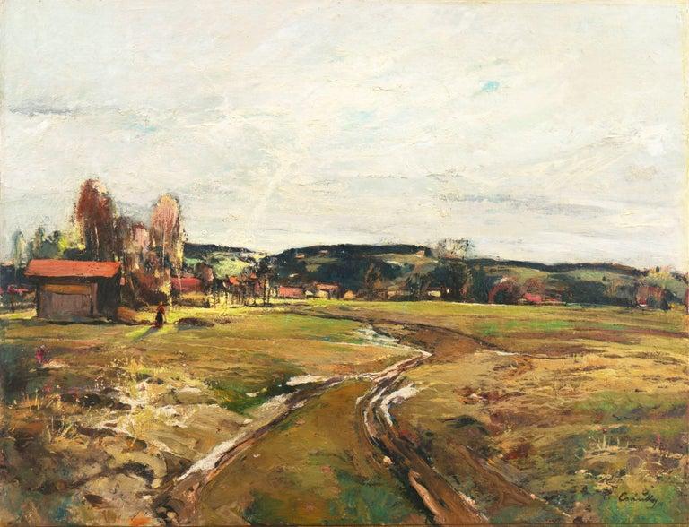 Denes Csanki Landscape Painting - 'Spring Landscape', Munich, Berlin, Hungarian Fine Arts Museum, Impressionist